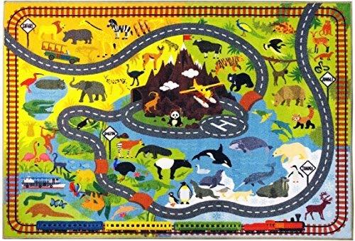 """KC CUBS colección de Tiempo de Juego - Animales Hoja de Ruta de Safari y educativa Alfombra Juego de Aprendizaje (3' 3"""" x 4' 7"""")"""