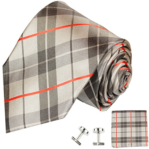 Cravate tartan ensemble de cravate 3 Pièces ( 100% Soie Cravate + Mouchoir + Boutons de manchette )