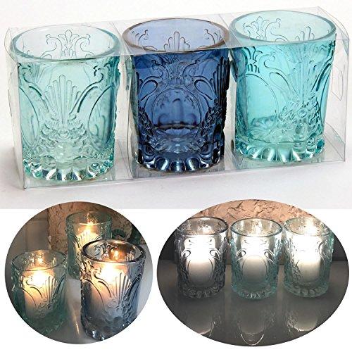 ht Teelichthalter Windlichthalter Teelichtschale Glas Blau Türkis 10,5x8,5cm LS-LebenStil ()