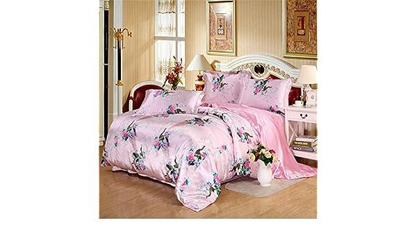 Pink Blau Pfauenmotiv Design Kuschel Bettwäsche Bettbezug Set