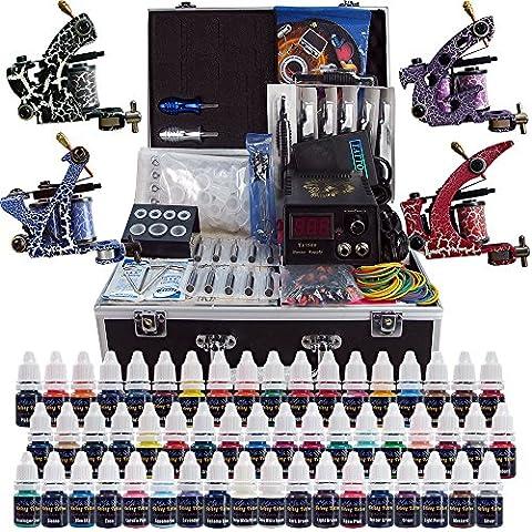 Solong Tattoo® Kit de Tatouage Complète 4 Machine à Tatouer Professionnelle 54 Encres Power Supply Aiguille de Tatouage Tattoo Kit Set TK456