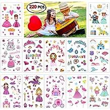Konsait 220 Tatouages temporaires de Princesse - Licorne Château Princesse Reine Tatouages Ephémères Tattoo Autocollant pour Filles Enfants d'anniversaire Cadeaux Pinata