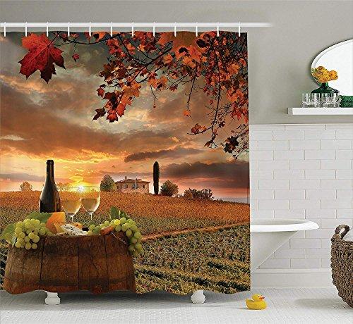 GAOFENFFR Weingut Dekor Sammlung Weißwein mit Fass auf Weinberg bei Sonnenuntergang in Chianti Toskana Italien LandschaftsdruckBad Duschvorhang Orange Grün - Grün-polyester-mischung