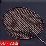 TIAO Racchetta da Badminton, Ultraleggero 6U Badminton Racchetta, offensivo e difensivo Tipo 72g Carbon Fiber Professionale Racket, Ultra Light Offensiva Badminton Racket,Orange