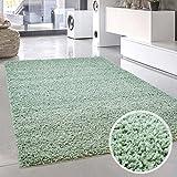 carpet city Shaggy Pastell Teppich Hochflor Langflor Einfarbig/Uni in Pastell-Grün, Mint aus Polypropylen für Wohn-Schlafzimmer, Größe: 80x80 cm Rund