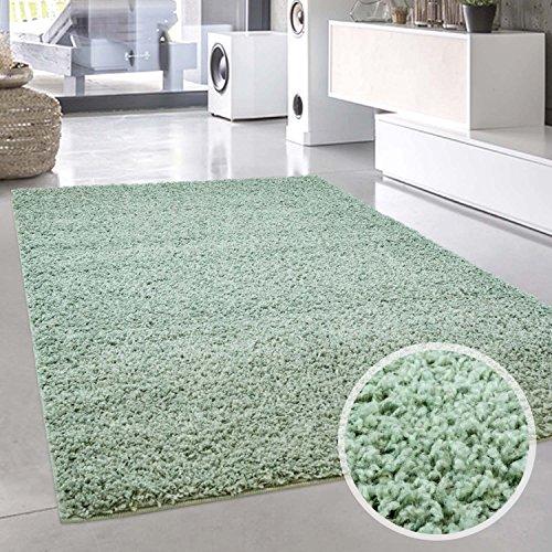 carpet city Shaggy Teppich-Läufer Hochflor Langflor Pastell Einfarbig Modern Mintgrün für Wohnzimmer; Größe: 70x140 cm -