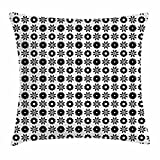 Flower Throw Pillow Cushion Cover, Silhouette of Spring Blooms Monochrome Petals Pattern Abstract Nature Elements, Decorative Square Accent Pillow Case, 18 X 18 Inches, Black and White