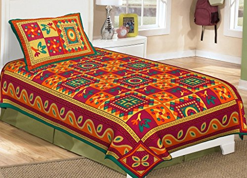 RajasthaniKart Classic Kantha Print 144 TC Cotton Single Bedsheet with Pillow Cover - Green