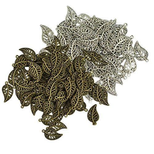 Sharplace 200x Blätter Form Anhänger Charm Antike Silber + Bronze für DIY Handwerk Basteln (Charm-handwerk)