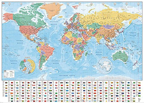 empireposter Landkarten - World Map Flags and Facts - Weltkarte - Giant XXL Poster Druck 140x100 cm -