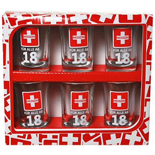 Schnapsgläser 6 Stück 7cm Medizin mit Zahl 18 im Geschenkkarton