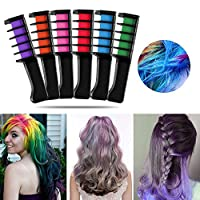 NYKKOLA 6pcs Hair Chalk Comb Color Hair Dye Comb Temporary Hair Dyeing for Adult Teen Girls Party and Cosplay DIY