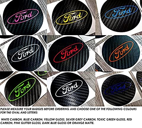 4x Ford Center Caps Alloy Wheel Black & Red Carbon Decal Overlay Sticker S Max B, C, II Kuga S-Max C-M