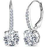 LeCalla Sterling Silver Jewelry Cubic Zirconia Round Dangle Dainty Leverback Earring for Women