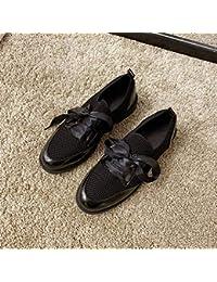Zapatos blancos pequeños para mujer, otoño, versión nueva coreana, de la salvaje, de tacón bajo, de punto, zapatos casuales, zapatos individuales, color negro