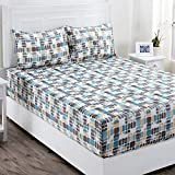Maspar Superfine 210 TC Cotton Double Bedsheet with 2 Pillow Covers - Geometric, Multi Pastel (MP31938)