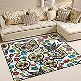 Domoko Flower Cat Kätzchen Sugar Skull Bird Bereich Teppich Teppiche Matte für Wohnzimmer Schlafzimmer, Textil, Mehrfarbig, 203cm x 173.3cm(7 x 5 Feet)