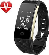 Pruvansay Fitness Armbänder mit Pulsmesser, Schrittzähler,Schlafmonitor Touchscreen und Kalorienzähler/Vibrationsalarm Anruf SMS Whatsapp Für Android/iOS Telefonkompatibel