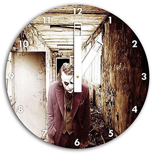 foto Joker en el reloj de pared con blanco blunt las manos y la cara, de 30 cm de diámetro, decoración perfecta para su hogar, idea regalo estupendo para jóvenes y mayores