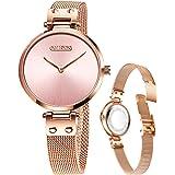 Orologio da donna sottile da donna, in oro rosa, quadrante nero, lunetta da 7 mm, cassa sottile in lega milanese, cinturino i