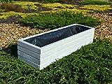 NEU Pflanzkasten aus Holz TOP Pflanzkübel Garten Terrasse fertig montiert D2 Weiß (100 cm)