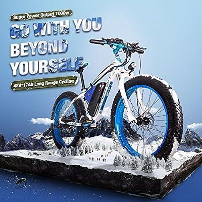 RICH BIT RT-022 E-Bike Elektro Fahrrad 66 cm 4.0 Fat Tire Mountain Bike Elektro-Fahrrad eBike 1000 W High Power Motor 48 V * 17 Ah hohe Kapazität Lithium-Akku High Life 21 Speed Shimnao Bremse