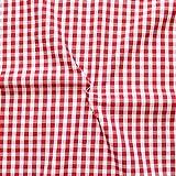 STOFFKONTOR Baumwollstoff Hemden Qualität Vichy Karo mittel Meterware Rot-Weiss