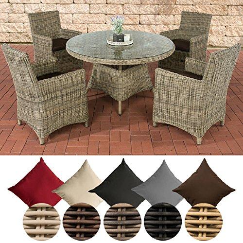 CLP Polyrattan-Sitzgruppe PINELLA mit Polsterauflagen | Garten-Set bestehend aus einem Esstisch und vier Gartenstühlen | In verschiedenen Farben erhältlich Bezugfarbe: Terrabraun, Rattan Farbe natura