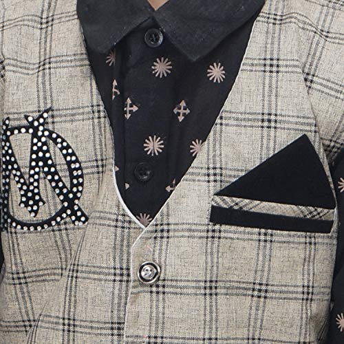 AHHAAAA Boys Cotton Blend Waistcoat Shirt and Trouser Set (Dark Grey, 10-11 Years)