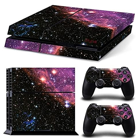 Stillshine Decal Full Body Night Sky Faceplates Skin Sticker For Sony Playstation 4 PS4 console x 1 and controller x 2 (purple sky)