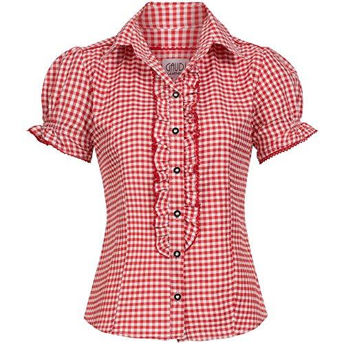 Gaudi-Leathers Trachtenbluse Ronda Rot Weiß Kariert Größe 38