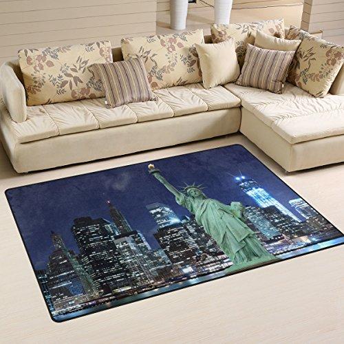 JSTEL INGBAGS Teppich, Superweich, Moderne Freiheitsstatue, New York City, Wohnzimmerteppich, Schlafzimmer, Teppich für Kinder, Spielteppich und Teppiche, 79 x 51 cm, Multi, 60 x 39 inch - Elfenbein Blumen-bereich Teppich