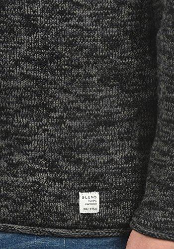 BLEND Gerald Herren Strickpullover Feinstrick Pulli mit Rundhals-Ausschnitt aus hochwertiger Baumwollmischung Meliert Black (70155)