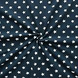 Baumwoll Stretch Jersey Stoff Sterne Groß Meterware