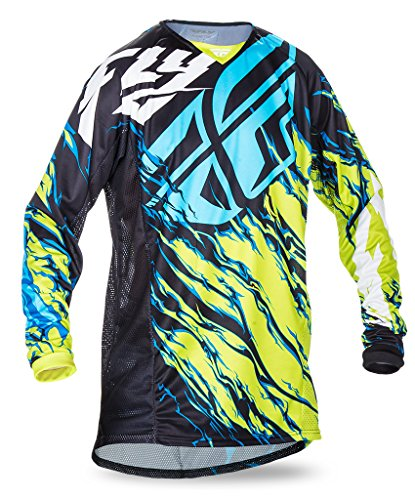 Fly Racing Kinetic Motocross/Mountainbike Jersey Kids Relapse lime-blau YL (Dirt Racing Shirts Bike)