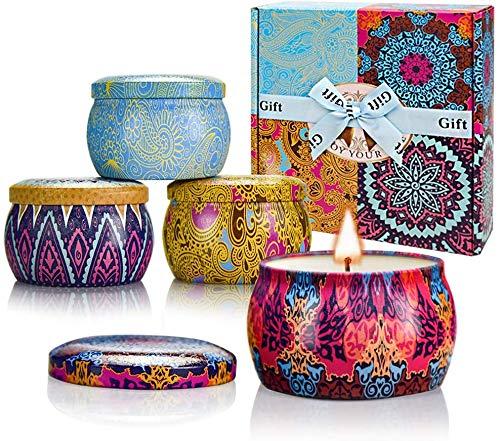 TTRWIN Duftkerzen Geschenksets, Zitrone, Lavendel, Mediterrane Feige und Rose Duftkerze , Natürliche Soja Wachs Tragbare Reisezinn Kerze - 4er Pack