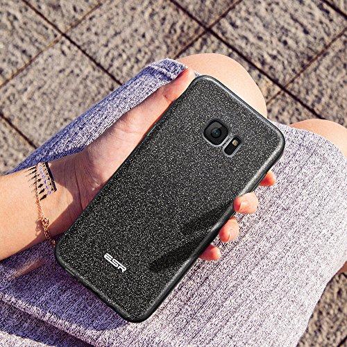 Coque Galaxy S7 Edge Noir, ESR Samsung Galaxy S 7 Edge Coque Paillette Strass Brillante Bling Bling Glitter de Luxe, Housse Etui de Protection Silicone [Ultra Fine] [Anti Choc] pour Samsung Galaxy S7E Noir