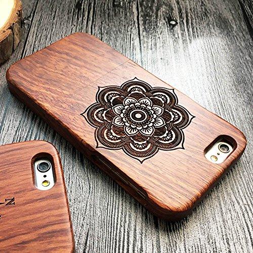 Forepin® Natur Holz Wood Hülle Handyhülle Echtem Schutz Schale Hart Cover Case Etui für iPhone 5 5S SE 4.0 Zoll - Wolf Blume