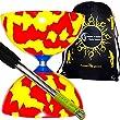 Jester Diabolos (Red/Yellow)+ Metal Diabolo Sticks, Diablo String & Travel Bag.