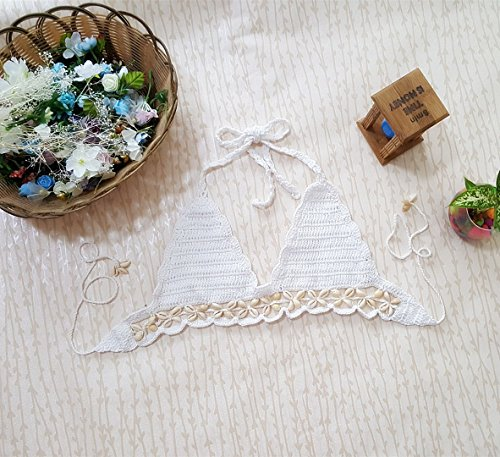 Minetom Donna Hollow Maglia Halter Neck 2 Pezzi Bikini Sets Push Up Coordinati Swimwear Conchiglia Crochet Costumi Spiaggia Bianco