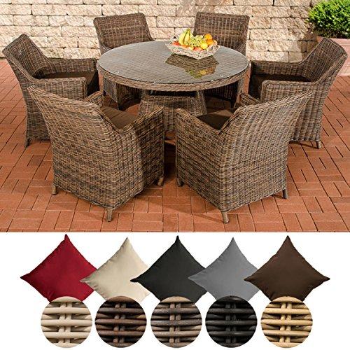 CLP Poly-Rattan Gartenmöbel Sitz-Gruppe GINOSA, 5 mm Geflecht (6x Sessel Sandnes + Tisch rund Ø 130 cm) Rattan Farbe braun-meliert, Bezugfarbe: Terrabraun