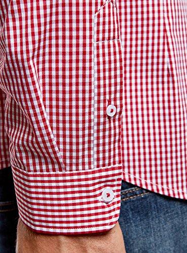 oodji Ultra Herren Hemd Extra Slim Fit mit Feinem Karomuster Rot (1045C)