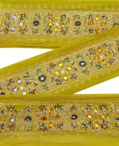 indian-vintage-sari-border-art-brode-occasion-garniture-femmes-ruban-vert-dentelle-1yd