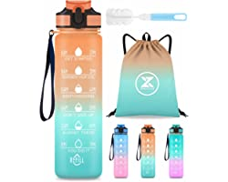 Sports Water Bottle, ZOUYUE 1 Litre Motivational Water Bottle with Time Markings One Click Open BPA Free Drink Bottles with F