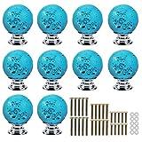 PsmGoods® Klare Kristallglas Schubladenknöpfe mit Blase Ball Schrank Türgriffe Küche Schrank Knöpfe Pull Griff 10 Stück (Blau)
