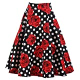 Candow Look Falda Flare Full lunares rojo las mujeres falda Vintage 50s 60s Rockabilly Pin-up