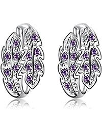 Hannea Pair Of Trendy Leaf Shape Rhinsstone Glitter Silver Plated Stud Earrings For Women
