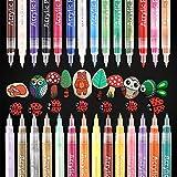 YITHINC 28 Farben Acrylstifte Feine Spitze Wasserfeste Stifte,Acrylstifte Marker Stifte für Steine,Kieselsteine, Glas, Keramik, Porzellan,Extrafeine Spitze 0,7 mm