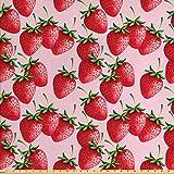 ABAKUHAUS rot Gewebe als Meterware, Saftige Erdbeeren