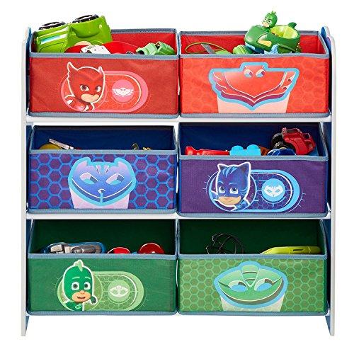 PJ Masken Kinder Schlafzimmer Spielzeug Stauraum mit 6Tonnen, Holz, mehrfarbig